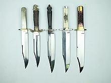 Five various modern Bowie knives by J.E. Middleton, each with its leather scabbard. (5)