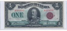 DOMINION OF CANADA $1 BANK NOTE, RED SEAL-GRADE XF/AU