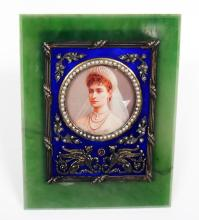 RUSSIAN NEPHRITE SILVER ENAMEL FRAME WITH MINIATURE