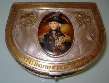RUSSIAN SILVER BOX WITH MINIATURE PORTRAIT