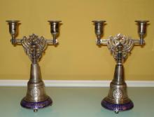 SAZIKOV ANTIQUE RUSSIAN  PAIR OF SILVER CANDLE STICKS