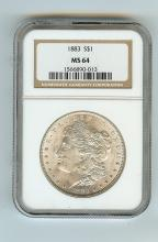 1883 MORGAN SILVER DOLLAR CERTIFIED MS 64 GRADE