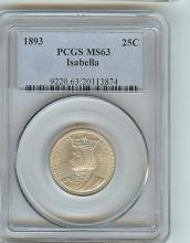 1893 ISABELLA COMMEMORATIVE SILVER QUARTER MS 63 PCGS