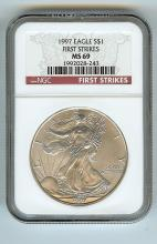 1997 AMERICAN EAGLE SILVER DOLLAR GRADED MS 69