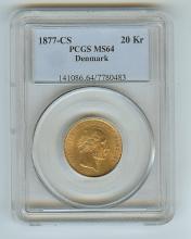 1877 CS DENMARK 20 KRONER GOLD COIN CERTIFIED MS 64