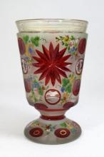 BOHEMIAN CUT AND ENAMELED FLORAL FOOTED GOBLET