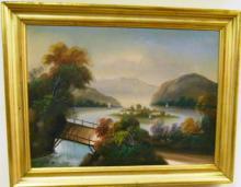 HUDSON SCHOOL OF THE ARTS OIL ON CANVAS LANDSCAPE SCENE