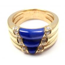 VAN CLEEF & ARPELS 18K Y G DIAMOND BLUE ENAMEL BAND RING