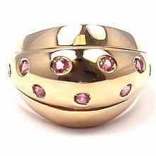 VERSACE STARLIGHT 18K YELLOW GOLD PINK SAPPHIRE RING