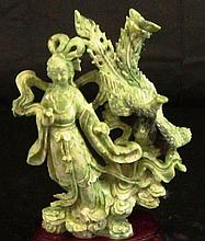 CHINESE GREEN JADE XI WANGMU SCULPTURE