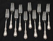 10 Majestic Reed & Barton Sterling Silver Forks