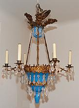 Large Blue Opaline Glass & Crystal Chandelier