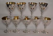 10 Reed & Barton Heraldic Sterling Rooster Goblets