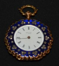 Henry Captain 18k Gold, Diamond & Enamel Pocket Watch