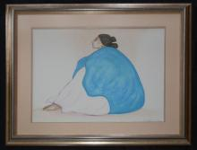 Large Pastel of a Woman Signed R.C. Gorman 1986