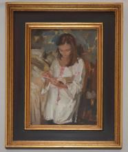 Painting of a Girl Signed Richard Piloco