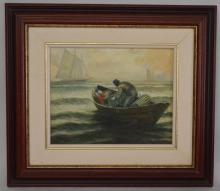 S. Chen Lobster Fisherman Oil Painting