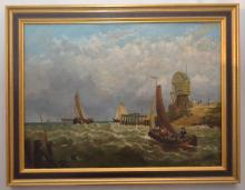 Oil Painting of a Harbor /Ships Scene Signed Hardcastle
