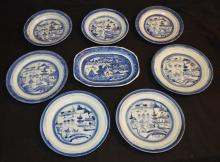 Lot of 8 Blue & White Canton China Plates