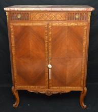 French Marble Top Linen Press Dresser