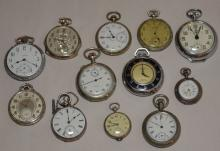 Lot of 12 Vintage Silver Pocket Watches