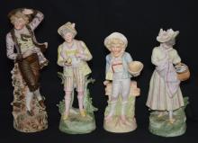 Group of 4 German Bisque Porcelain Figures