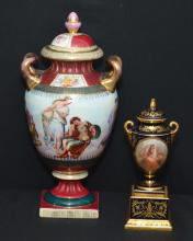2 Painted Royal Vienna Porcelain Urns