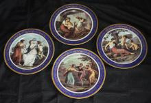 4 Limoges Hand Painted Plates with Cobalt ?Gold Trim