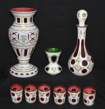 9 Pieces of Bohemian Cased & Cut Painted Glass