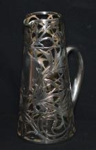 Art Nouveau Sterling Silver Overlay Pitcher