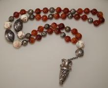 RARE Carved Ojime Bead Necklace with Scent