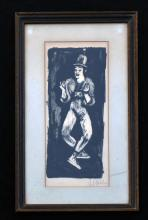 Illegibly Pencil Signed Mid Century Litho of a Mime