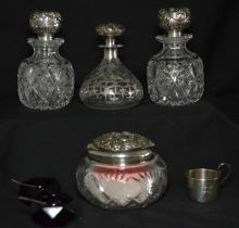 Lot of Sterling Silver  Top Dresser/ Vanity Pieces