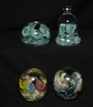 Lot of 4 Joe St. Clair Art Glass Paperweights