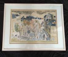 Interesting Older Litho Illegibly Signed