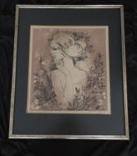 Illegibly Signed and Titled  Litho Of A Young Woman