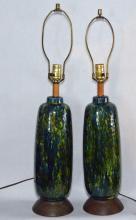 Pair of Retro Ceramic Mad Men Lamps