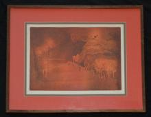 Signed French Mid Century Abstract Litho