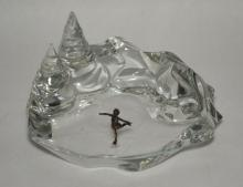Baccarat Franklin Mint Winter Ice Skater Statue