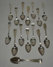 15 Antique Coin Silver Spoons