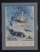 NAVAL AVIATION AVIATOR AUTOGRAPHED RASMUSSEN PRINT