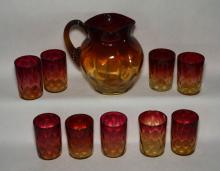Amberina Coin Spot Pitcher and 9 Tumblers