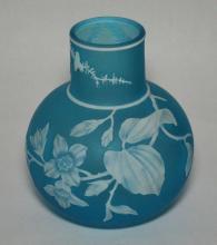 Blue Cameo Glass Vase Attr to Thomas Webb