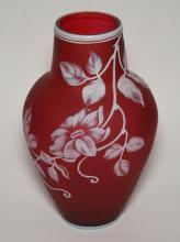 Red Cameo Glass Vase Attr to Thomas Webb