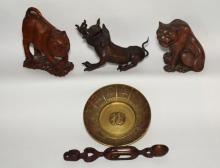5 Antique Chinese Foo Dog & Lion Figures