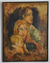 Haunting Painting of a Family Signed Freld Hale