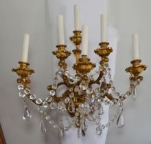 Pr Of Bronze & Crystal Wall Sconces