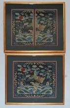 2 Chinese Silk Officer's Badges