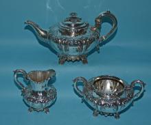 Francis Drake Repousse Sterling British Tea Set