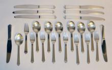 23 Pieces Of Georg Jensen Pyramid Sterling Silver Flatware